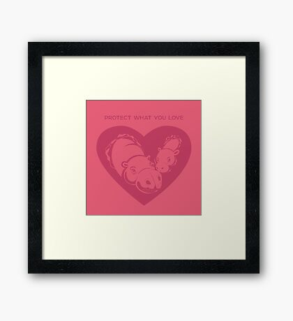 Love Pygmy Hippos - Protect What You Love Framed Print