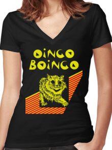 Oingo Boingo cat Women's Fitted V-Neck T-Shirt