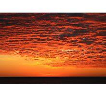Orange Sunset over Lake Superior Photographic Print