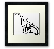 snowboarding on dinosaurus Framed Print