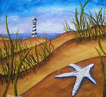 Starfish and Lighthouse Beach Painting by Pamela Burger