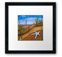 Starfish and Lighthouse Beach Painting Framed Print