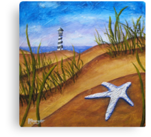 Starfish and Lighthouse Beach Painting Canvas Print