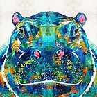Hippopotamus Art - Happy Hippo - By Sharon Cummings by Sharon Cummings
