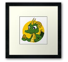 Cute green dragon cartoon Framed Print