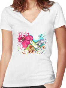Hummingbird Women's Fitted V-Neck T-Shirt