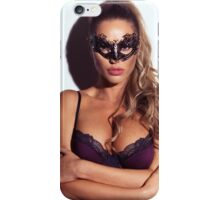 Sexy glamorous woman wearing a mask art photo print iPhone Case/Skin