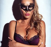Sexy glamorous woman wearing a mask art photo print by ArtNudePhotos