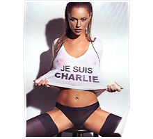 Sexy young woman in wet Je Suis Charlie shirt art photo print Poster