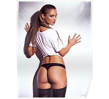 Sexy young woman back in shirt and underwear art photo print Poster