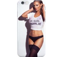 Sexy young woman in wet Je Suis Charlie shirt and lingerie art photo print iPhone Case/Skin