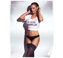 Sexy young woman in wet Je Suis Charlie shirt and lingerie art photo print Poster
