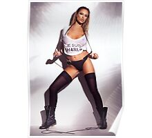 Sexy woman in wet Je Suis Charlie shirt underwear stockings and boots art photo print Poster