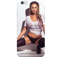 Sexy young woman in wet Je Suis Charlie shirt and underwear art photo print iPhone Case/Skin