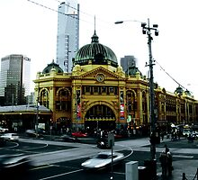 Photograph of Flinders Street Station Melbourne by Elizarose
