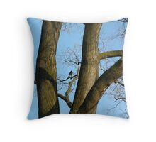 dark crow in the tree Throw Pillow