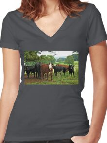 """...Goin'a do what, Cowboy? Best Watch It! You're in Cowtown, Now""... prints and products Women's Fitted V-Neck T-Shirt"