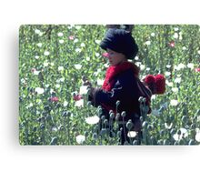 Mien mother and baby harvesting opium poppy Canvas Print