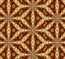 Golden Brown Sun Earth Eight Rays Kaleidoscope by M Sylvia Chaume