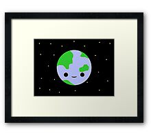 Cute earth and stars Framed Print
