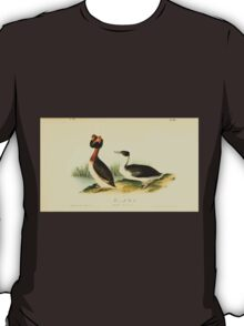 James Audubon Vector Rebuild - The Birds of America - From Drawings Made in the United States and Their Territories V 1-7 1840 - Horned Grebe T-Shirt