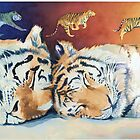 &quot;Cat Nap&quot; Sleeping Tigers Watercolor  by Paul Jackson