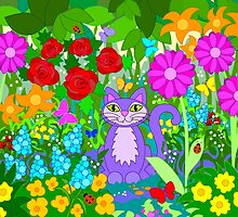 Cat in the Garden Butterflies Flowers Ladybugs by M Sylvia Chaume