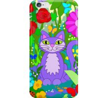 Cat in the Garden Colorful Flowers Butterflies iPhone Case/Skin