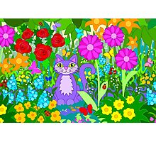 Cat in the Garden Colorful Flowers Butterflies Photographic Print