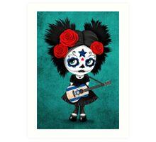 Sugar Skull Girl Playing Israeli Flag Guitar Art Print