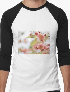 Pink and Green Pastel Flowering Tree Branch Men's Baseball ¾ T-Shirt