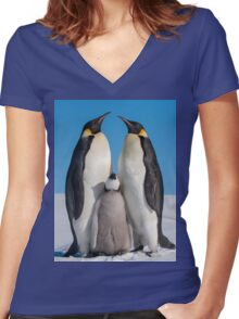 Emperor Penguins and Chick - Snow Hill Island Women's Fitted V-Neck T-Shirt