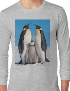 Emperor Penguins and Chick - Snow Hill Island Long Sleeve T-Shirt