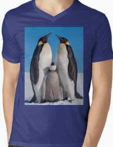 Emperor Penguins and Chick - Snow Hill Island Mens V-Neck T-Shirt