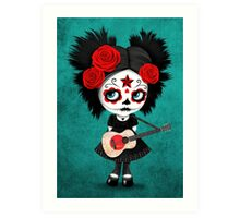 Sugar Skull Girl Playing Japanese Flag Guitar Art Print