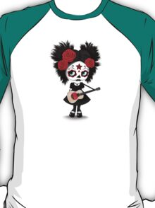 Sugar Skull Girl Playing Japanese Flag Guitar T-Shirt
