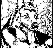 Pen and Ink Collection - German Shepherd by morgansartworld