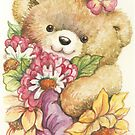 Teddy with Flowers by morgansartworld