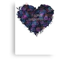 Shopping neon heart Canvas Print
