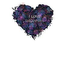 Shopping neon heart Photographic Print