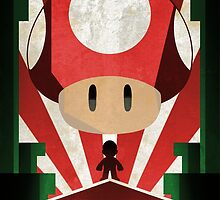 Super Mario Bors - Mushroom - Art Deco Style by Firenutdesign