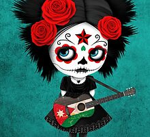 Sugar Skull Girl Playing Jordanian Flag Guitar by Jeff Bartels