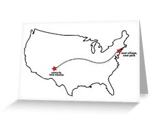 Rent (Musical) - East Village to Santa Fe Map Greeting Card