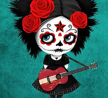 Sugar Skull Girl Playing Latvian Flag Guitar by Jeff Bartels