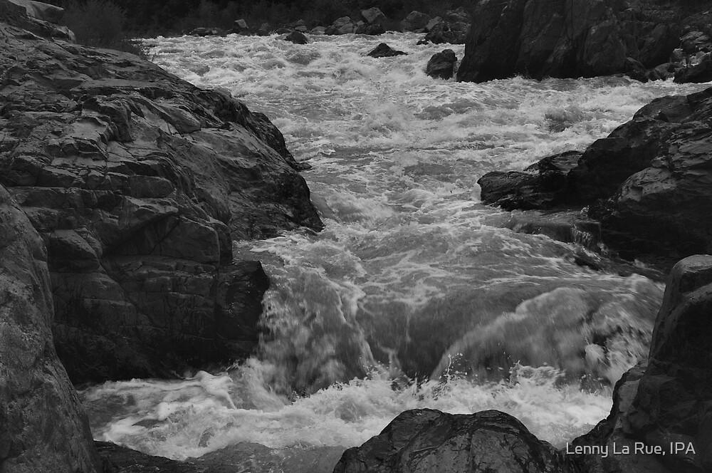 South Yuba River, charging (shot as B&W) by Lenny La Rue, IPA