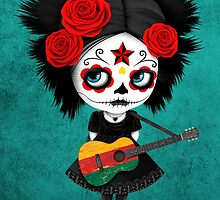 Sugar Skull Girl Playing Lithuanian Flag Guitar by Jeff Bartels