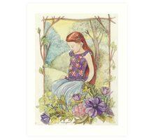Girl in the wood Art Print