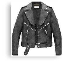Tough Black Leather Jacket Watercolor - Hipster/Trendy/Fashion Canvas Print