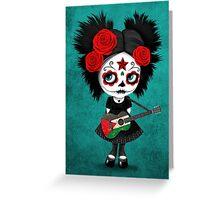 Sugar Skull Girl Playing Palestinian Flag Guitar Greeting Card