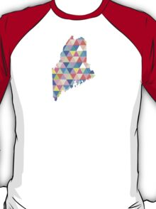 Maine Colorful Hipster Geometric Triangles  T-Shirt